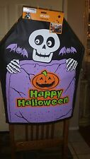 "Halloween (2) Black/Lavender Chair Covers w/Pumpkin Ghost Print. 19 X 26""."