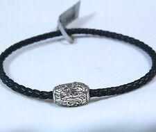 "David Yurman Men's Waves Clasp Ojime Bracelet Black Leather Silver 8.5"" $295 New"