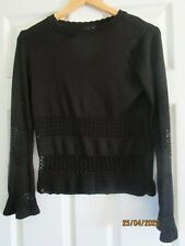 TopShop black jumper top with lace knit detail. Size 6.