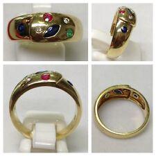 Anello 585er oro con Zaffiro Smeraldo Rubino Brillanti Gioielli brillantenring