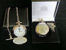 CRICKET CRICKETER ENGLISH PEWTER FACED POLISHED POCKET FOB WATCH & CHAIN & BOX