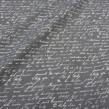 Stoff Meterware Baumwollstoff anthrazit grau weiß Schrift Handschrift Frankreich