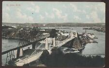 Postcard ST JOHN, CANADA  Two Bridges Aerial View 1907?