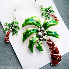 PALM TREE Magnetic Pendant & Matching Pierced Earrings- 2 1/2 inch pendant