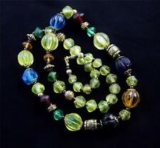 Vintage Colorful Uranium Glass Trade Bead Long Necklace - RARE