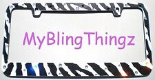 ZEBRA + Crystal BLING Rhinestone License Plate Frame +Caps w/ Swarovski Elements