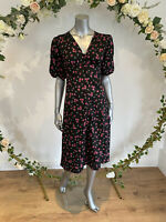 Influence Tea Dress Size 8 & 12 Midi Black Rose Daisy Floral Button Up New HA28