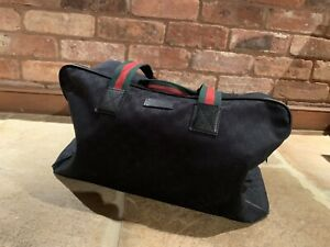 Genuine Gucci Duffle Bag Black GG Logo Canvas And Leather Trim