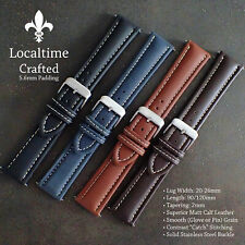 Superior Crafted Glove Grain Calf Leather Watch Straps 5.6mm Padding 20-26mm