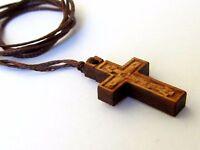 Handmade Orthodox Greek Religious Pendant Necklace with Wood Cross Crucifix / 43