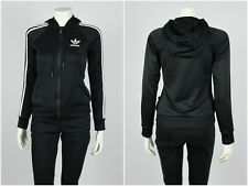 Womens Adidas Originals Track Top Jacket Hoodied Black Size UK 6 / XS