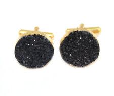HH651 Sale !! 14mm Black Natural Agate Druzy 24k Gold Plated Cufflinks For Men