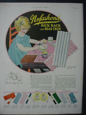 1925 Nufashond Kids Clothing Ad Cute Girl at Table Color Vintage Print Ad 11849
