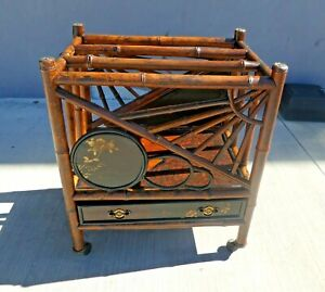 STUNNING VICTORIAN JAPANNED BAMBOO MAGAZINE RACK WITH DRAWER