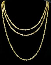 """3pc Rope Chain Set 3mm 18"""" 20"""" 24"""" Necklaces 14k Gold Plated HipHop Mens Womens"""