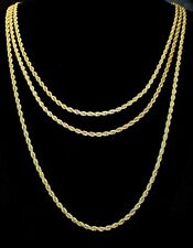 "3pc Rope Chain Set 3mm 18"" 20"" 24"" Necklaces 14k Gold Plated Mens Womens"