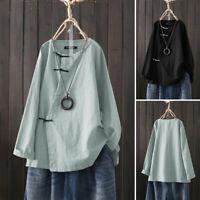 Mode Femme Coton Bouton Casual Col Rond Manche Longue Loisir Shirt Haut Plus