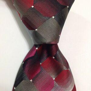 VAN HEUSEN Men's Silk/Polyester Necktie Designer Geometric Red/Gray/Pink NWT $45