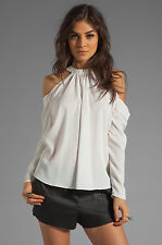 BOULEE Mari Top Off White Open Shoulder High Neck Size 0 Retail $154