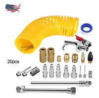 20 Pcs Air Compressor Accessory Kit Tool 25Ft Recoil Hose Gun Nozzles Set New