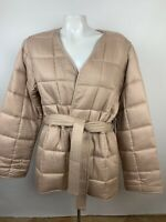 Amuse Society Womens Sz S Blush Pink Quilted Jacket Belted Pockets Rayon