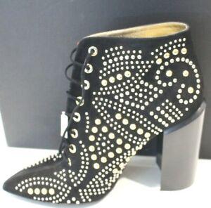 Walter Steiger Black Suede Gold&Nikel Studs Block Heel Lace Up Booties Sz EU39.5