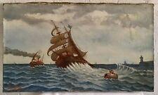 Tableau Ancien Huile Sur Toile Marine Signée