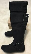 Rampage Batari Faux Suede Knee High Boot Black Suede Size 6.5m with deco studs