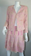 Dana Buchman Pink Green Ivory Tweed Pleated A Line Skirt Jacket Blazer 8 4 M S