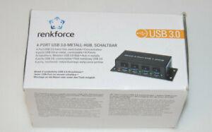 Renkforce 4 Port USB 3.2 Gen 1-Hub Metallgehäuse, einzeln schaltbar, zur Wandmon