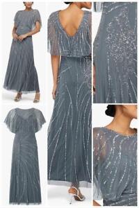 MONSOON-Florence Embellished Flutter Sleeve Maxi Dress(Blue)Size 10 to 18(BNWOT)