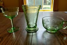 Mixed Lot green Depression Glass