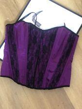 Sarahs Lingerie Purple Satin And Lace Corset Medium Boned