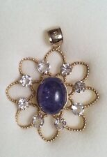 14k Gold Pendant With Blue Tanzanite and Colorless Topaz Stones