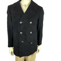 Vintage U.S. Navy Wool Pea Coat Black Silver Eagle Buttons 38S