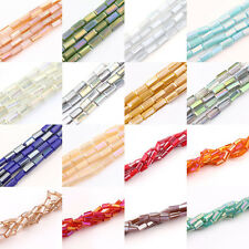 30Pcs Faceted Glass Crystal Charm Finding Rectangle Spacer Loose Beads DIY 4x2MM