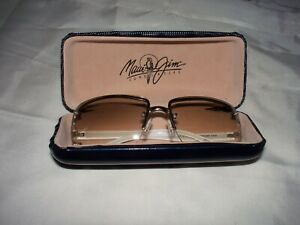 MAUI JIM HARD CASE NAVY BLUE WITH SHADY RAYS LADIES WHITE CLEAR LENS SUNGLASSES!
