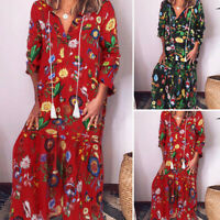 Mode Femme Col V Manche Longue Floral Loose Robe Dresse Long Maxi Grande Taille