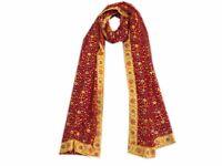 Om Vintage Dupatta Georgette Hand Embroidered Red Stole Veil Scarves W-1421
