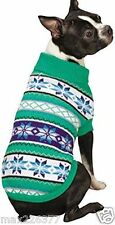 New Nordic Design Dog Sweater Chalet Green White Snowflake Zack & Zoey XSmall XS
