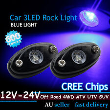 2x CREE LED Rock Light Blue Car Caravan ATV Off-Road Under Wheel Rig Trail Bulbs