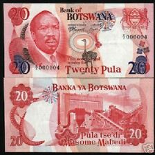 BOTSWANA 20 PULA P5 B 1976 ZEBRA UNC LOW NUMBER 000004 RARE CURRENCY MONEY NOTE