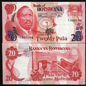 BOTSWANA 20 PULA P-5 B 1976 ZEBRA UNC LOW NUMBER 000004 RARE CURRENCY MONEY NOTE