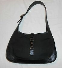 Authentic Vintage Gucci Jackie Black GG Canvas Small Hobo Shoulder Handbag ~Nice