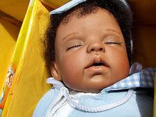 OOAK NEW MONIKA LEVENIG ARTIST ORIGINAL 16in PORCELAIN DOLL BLACK BABY BOY NRFB