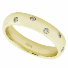 Natural 0.25ct Round Diamond Bezel Set Wedding Eternity Band Ring Solid 10k Gold
