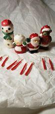 Vintage Candles Mr Mrs Clause Snowman Santa Bear Tiny Candle Sticks
