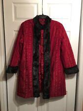 Carol Cohen Studios VTG Red Wine Coat Jacket Fur Trim Printed Design Sz L Large