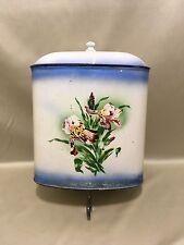 Ancien lave main en émail  coloré motif floraux avec son robinet lavabo fontaine