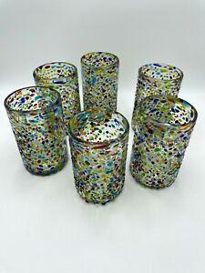Hand Blown Mexican Glassware Hailed Confetti (Set of 6)